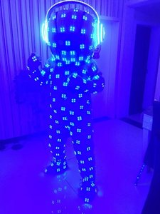 Colorful LED luminous costumes ballroom dance RGB light doll catwalk party bar performance wears clothe dj stage show suit