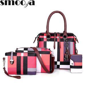 Sacs à main de luxe SMOOZA plaid Femmes Sacs Designer 2019 et sacs à main pompon Set 4 Pièces Sacs Femme Bolsa Feminina V191116