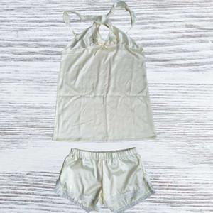 Drop Ship Summer Women's Pajamas Casual Pajamas Suit Suspenders + Shorts Silk Home Wear Simple Pure Color Versatile