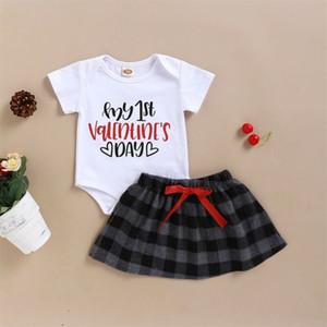 Baby Girl My 1st Valentine's Day с длинным рукавом комбинезон боди + юбка наряды