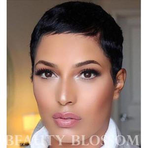 Pixie coupe courte machine faite aucune perruque de dentelle 100% de cheveux humains cheveux vierges péruviens pour femme noire