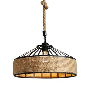 Vintage Rope Pendant Lamp E27 Loft Lighting Decoration Luminaries 30cm 40cm 50cm Black 110V 220V Industrial Hanging Lamps Bar Cafe Lightings