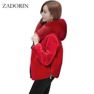 ZADORIN 2019 зимняя верхняя одежда женщины короткие искусственного меха пальто с капюшоном с длинным рукавом черный красный повседневная искусственного меха куртка jaqueta feminina 3XL