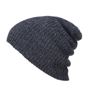 Mens Knitting Hat Winter Soft Warm Casual Acrylic Slouchy Hat Knitted Cap