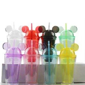 8colors 15oz acrílico vaso con tapa de domo, más paja de doble pared claros vasos de plástico con oreja del ratón reutilizable linda taza de la bebida