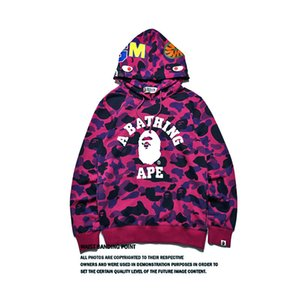 Shark Head Jcaket Camouflage Imprimer Hoodies Pull oversize High Street Sport Hommes \ 'S Sweat Livraison gratuite