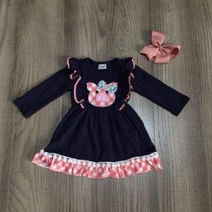 Девочка зима / весна одежды девочек свинья платье с розовым подолом детьми мило платьем с бантом
