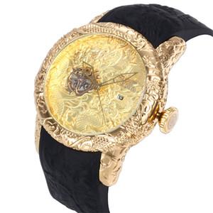 Venda quente tamanho grande dragão chinês estilo de qualidade invicta pulseira de borracha mens relógios de quartzo relógios de pulso relogies para homens relojes melhor presente