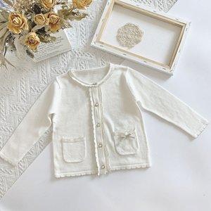 EnkeliBB bambino della ragazza Cardigan bianco pulsante cappotto per la ragazza del bambino del bambino bellissima giacca Pizzo Coats Kid Primavera Tops