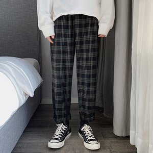 2020 New Fashion Man Loose Striped Length Trousers Korean Men Plaid Casual Pants Oversized Streetwear Joggers