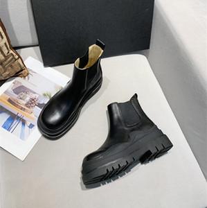 Genuinas botas de cuero real de la señora del diseñador de lujo con plisados de alta gruesos talón plana botines cómodos de moda Martin botas