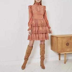 2020 İşlemeli Yaz Elbise Kadınlar Standı Yaka Yüksek Bel Dantel Patchwork Hollow Out Ruffles Elbiseler Kadın