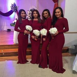 명예의 메이드 2020 NEW 부르고뉴 긴 소매 무슬림 신부 들러리 드레스 인어 플러스 사이즈 아프리카 파티 댄스 파티 드레스