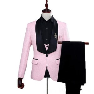 Wedding Tuxedos Groom Men's Suits & Blazers Men's Clothing Dinner Party One Button Shawl Collar slim Fit Handsome Men Suits JacketPantsVest