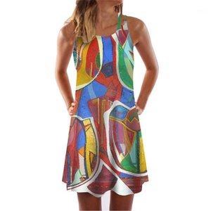 Brief Природные талии платье женщин Цветочные платья Sexy бретели платье без рукавов лета женщин A-Line O Neck