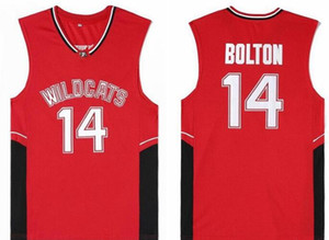 Chats sauvages de lycée 14 Troy Bolton Red University College Ncaa Jersey Mens Basketball Jersey 13 34 T-shirt vintage classique cousu chaud
