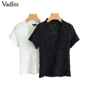 Vadim المرأة أبيض أسود قصير نمط بلوزة الخامس الرقبة قصيرة الأكمام بسط الإناث عارضة القمصان الحلو الجوف خارج الأعلى blusas Da246 Y19062501