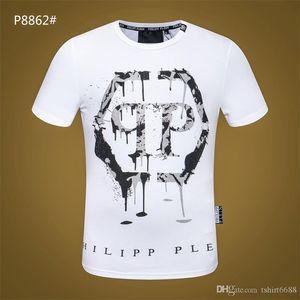 2018 брендов новый хип-хоп летняя мужская футболка с коротким рукавом 100% хлопок рубашка поло мужчины черепа хип qp дизайнеры мужские футболки Q014