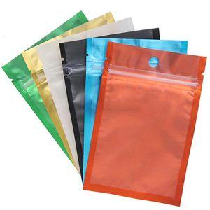 couleur sac en feuille d'aluminium refermables Zip sac Un côté sac transparent Retour emballage en plastique Odeur Pouches preuve