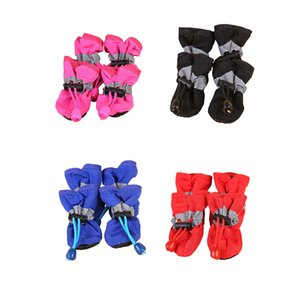 4 Pcs Set Portable Pet Dog Shoes Cover Non-slip Waterproof Rain Boots Autumn Winter Dogs Paws Soft Shoe LBShipping