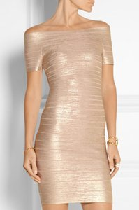 2016 new women sexy foiled gold short sleeve evening party bandage dress Dress + suit