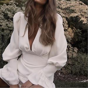 Élégant Mince Femmes Dress V Cou Lanterne Manches Taille Haute Volants Mini Robes Femme Casual Printemps 2019 Nouveau Défilé Robes