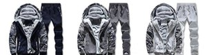 Casual Pullover Mens Winter Thick Clothing Sets Fleece Hooded Jacket Long Pants Tracksuits 2pcs Outfits Mens Clothes