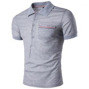 Дизайнер Polos Мода Solid Color отворотом шеи с коротким рукавом рубашки поло вскользь Mens лета Tops Англии стиль Mens