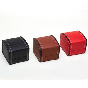 PU bolsas pantalla de reloj de cuero caja de almacenamiento de regalo exquisita productos de almacenamiento de cajas joyero reloj titular caso LJJA3621 favor del partido