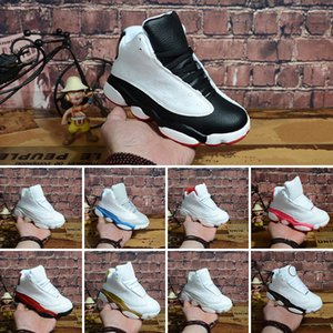 High Quality 13s Childrens Basketball Shoes 13 Chicago GS Hyper Royal Black Cat Flints Bred Brown Kids Boy jumpman shoes Sneakers Size 28-35