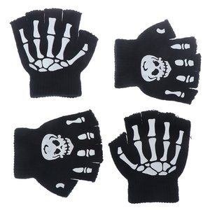 Boys Cool Fluorescent Skeleton Gloves Children Mittens Skull Gloves Fashion Cool Winter Black Knitting Luminous Gloves