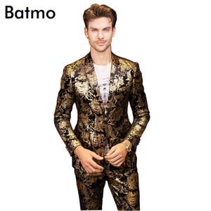 2017 new arrival High quality golden printed Nightclubs men's suits,one button casual suit men, plus-size M,L,XL,XXL,XXXL,XXXXL