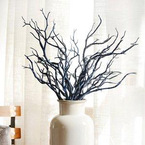 1 bouquet de bleu en soie artificielle Ficus arbre Branches Faux Arrangements lamination Faux jardin Bureau Market Restaurant