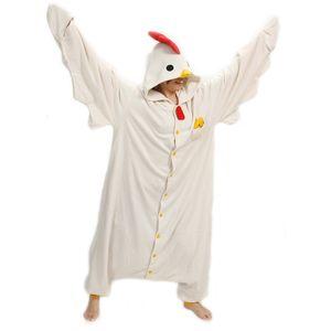 Costumes Sanderala Unisex animal adulto galinha branca Onesies Pajama Sete Pajama Cosplsy bonito Cozy Sleepwear Man Mulheres Homewear Y200425