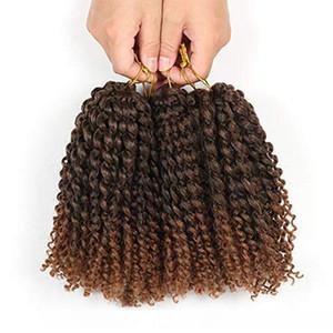 H de 8 Quot; Marlybob Crochet Extension de cheveux Marlibob Vague Kinky Curly Jerry Curly Tressage Crochet Marley cheveux Braid Chignon