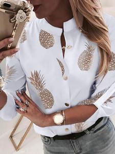 2019 Mulheres Verão New Elegant Trending Lazer Blusa Feminina Escritório de Férias Top Cadeia de Impressão Botão Através da Camisa Ocasional