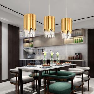 Lustre moderne en cristal doré rond pour la cuisine salle à manger chambre lumière de chevet luxe k9 led l