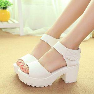White Women Sandals Hook & Loop Platform High Heels Lightweight EVA Cut-Outs Sandals Open Toe Black