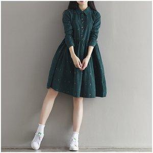 2019 Vintage Frauen Lose Kleid Umlegekragen Charakter Volle Hülse Beiläufige Vestidos Femininos Cord Grün Retro Dame Kleid SH190702
