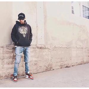 Moda-RHUDE Bırak LA Kurt Kapüşonlular Moda eski Kapşonlu Kazak Kazak Sokak Casual Kazak HFTTWY058 yapmak