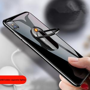 Поддержка 3D мобильного телефона держатель прикуриватель Творческого USB кольцо пряжка зарядка зажигалка