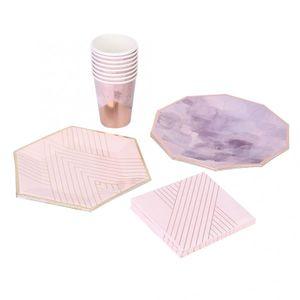 Desechable de vajilla Domésticos de Cocina Light Pink Tinta Pintura platos de papel desechables de papel Vajilla Copas Set