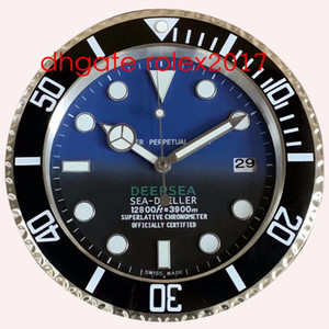 6 estilo de pared reloj mar 126660 126600 116660 34 cm x 5 cm 2 kg Cronógrafo de cuarzo de acero inoxidable de 2 kg Reloj de decoración luminiscente azul luminiscente azul 2021