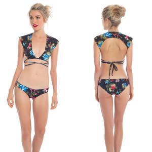 Les femmes push-up Soutien-gorge rembourré Bandage Ensemble bikini maillot de bain triangle Maillots de bain