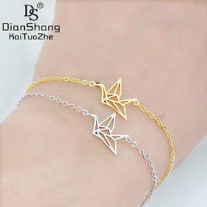 Dianshangkaituozhe 10 pcs atacado origami paz guindaste encantos pulseiras pulseiras elo da cadeia de aço inoxidável jóias bijoux femme