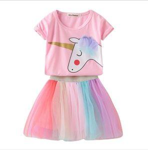 소녀 유니콘 의류 세트 유아 소녀 코튼 티셔츠 어린이 Tulle 레인보우 투구 스커트 유아 핑크 귀여운 유니콘 셔츠 조랑말 정장