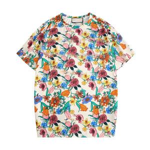 Diseñador de la camisa para hombre de la marca Italia verano de las mujeres T de cartas con floral para hombre manga corta tops con las flores Tee Shirts Wholesale