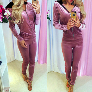 Womens Tute Casual Pure Color risvolto Zip Top Coat Long Pants 2 pezzi Outfits Lady Outwear pantalone del vestito Primavera Autunno Abbigliamento 37bl E1