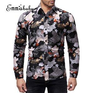 New Men Long Sleeve Shirt Button Up Business Work Smart Formal Dress Tops Male  Stylish Floral Slim Fit Dress Shirt