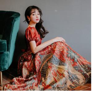 2020 새로운 여름 꽃 인쇄 된 휴일 긴 보헤미안 레드 여성 드레스 중공 아웃 빈티지 짧은 퍼프 슬리브 섹시한 등이없는 파티 드레스 Vestidos